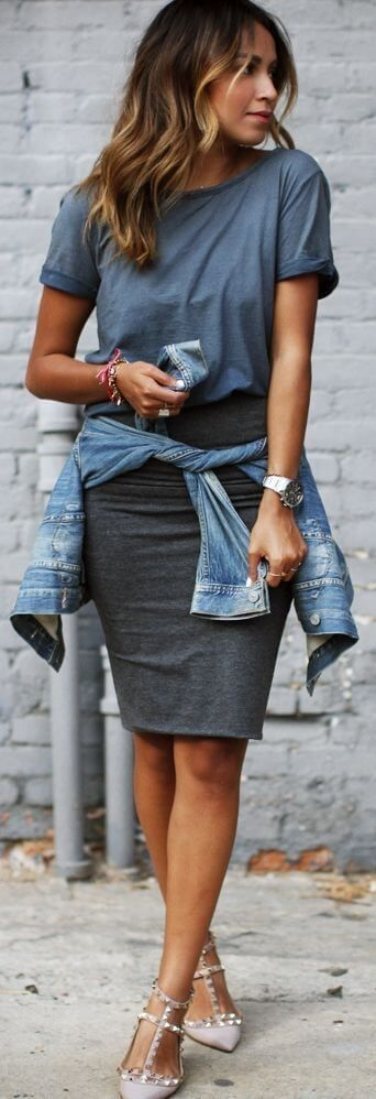 pencil skirt and denim jacket