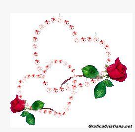 Corazones brillantes y rosas