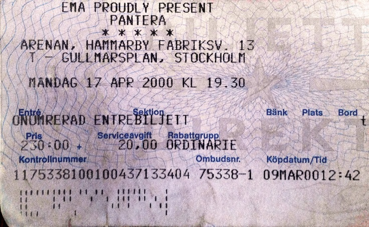 PANTERA – April 17th 2000, Stockholm, Arenan