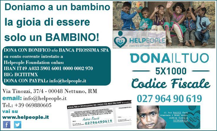 Vivi la gioia di donare una speranza con un piccolo e semplice gesto,, entra a far parte della famiglia di HelPeople Foundation!