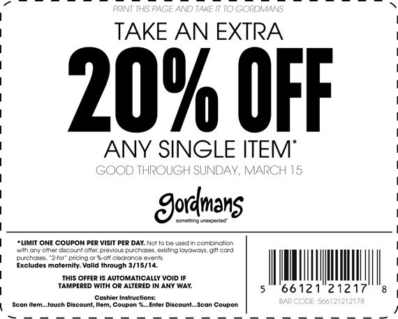 Pinned March 7th: 20% off a single item at #Gordmans #coupon via The #Coupons App