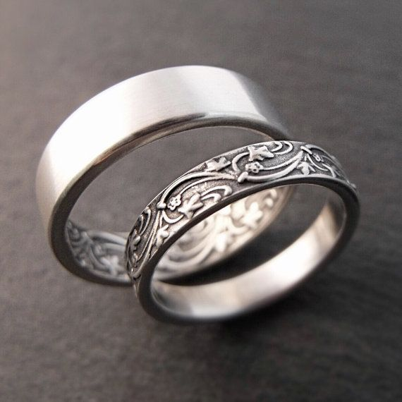 Wedding Band Set  Art Deco Ivy in Sterling by DownToTheWireDesigns