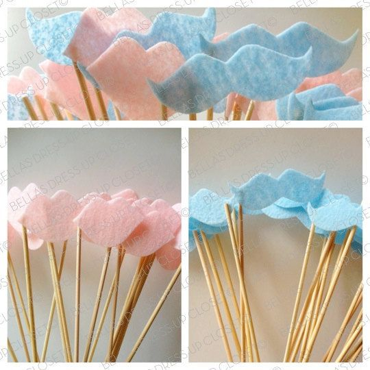REUSABLE 12 Baby Gender Reveal Party Mustaches by BellaBooSmile