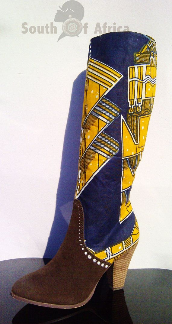 ankara knee high boots by southofafrica on etsy