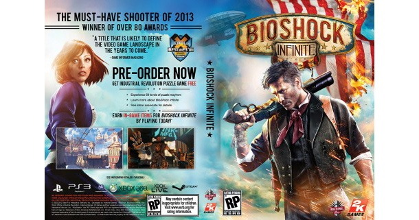 Irrational games is asking fans to vote on their favorite alternate Bioshock Infinite cover.  Following controversy from the cover reveal, Ken Levine posted on the Irrational website asking fans to vote on for the best design. The top-voted design will be on the reverse side of the above... - http://thegamingsheep.com/bioshock-infinite-cover-poll-gaming-sheep/