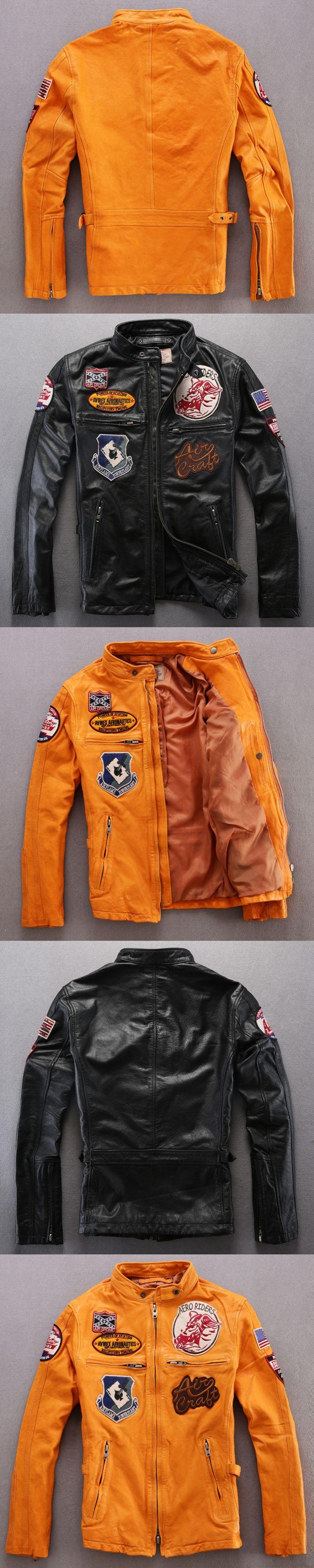 male leather jacket men's 100% Goatskin genuine leather jackets yellow/black slim fit motorcycle leather jacket men pilot jacket