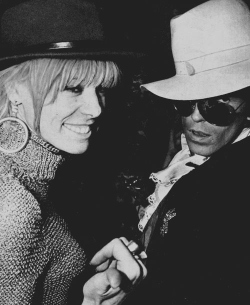 "Keith Richards with his girlfriend Anita Pallenberg arrive for a showing of the film ""Privilege"", directed by Peter Watkins, during the Cannes Film Festival, France, 5th May, 1967."