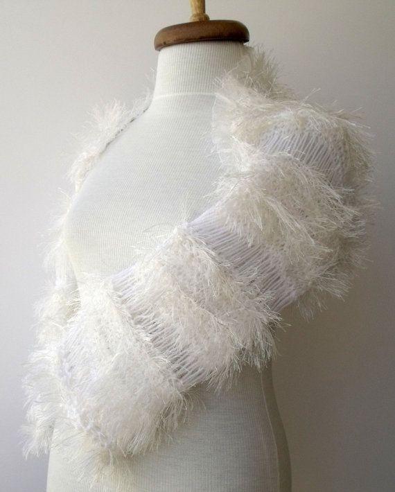 White Angel Bridal Wedding Shrug-Ready for by knittingshop on Etsy