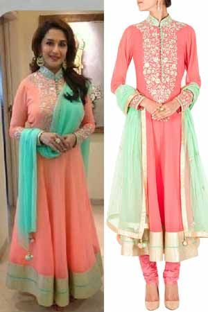 Replica of #madhuridixit peach anarkali suit. To order: WhatsApp at +91 9873433685 or mail us at glammrass@gmail.com  #indianattire#sarees#glammrass#fashion#ethniccouture#bridal#suit#anarkali#exclusive#exquisite#lehengasaree#bride#bollywoodreplica#kurtis#designerwear#indianwear#dresses#gowns#ethnicwear#salwarkameez#georgette#indianwear#salwar#kameez#indiansuit#chanderi