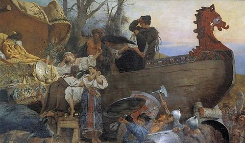 "Sir Francis Bernard Dicksee,...""Viking Funeral"""