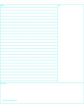 This Cornell Notes paper, with the fields in reverse of the traditional design, is lined and additionally formatted with two large blank areas for a summary and a cue (on which to later note and review main ideas, ask questions, or draw diagrams.) Free to download and print