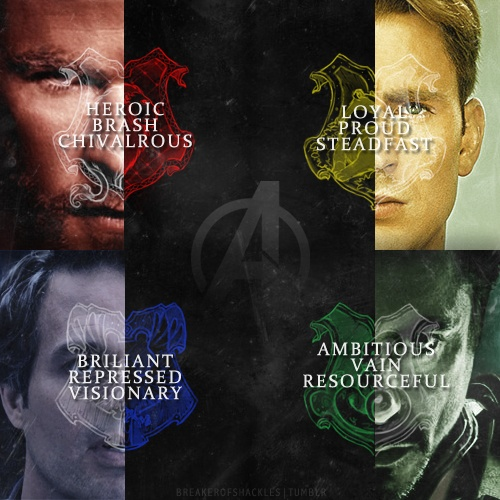 The Avengers in Hogwarts' Houses. That explains my unhealthy obsession the Captain