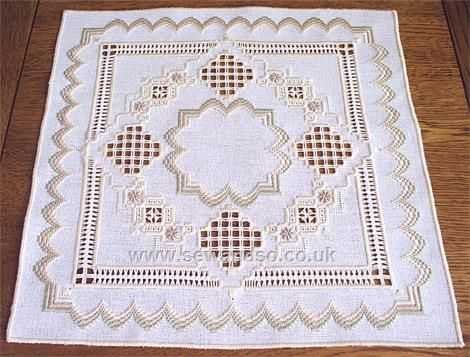 Peaches and Cream Mat - Drawn Thread Work Chart