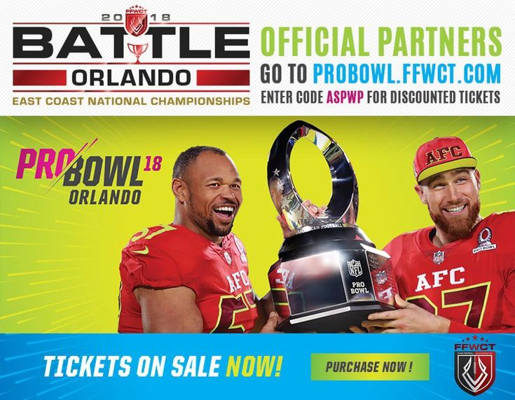 We are happy to announce that our #BattleOrlando East Coast Nationals has officially Partnered with the @nfl Pro Bowl! Players can get a discount on Pro Bowl tickets as well as win special contests to watch the Pro Bowl practices!! These rewards are ONLY available to players & teams competing in #BattleOrlando !  Stay tuned fore more details! #ffwct #probowl18 #nfl #ffwctnationals #ffwctregionals #probowl #probowlorlando #nflprobowl