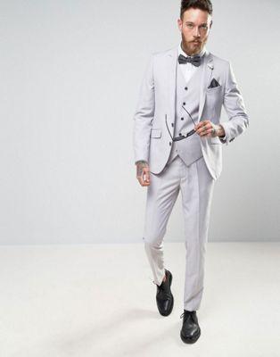 Бледно-серый свадебный костюм скинни Devils Advocate