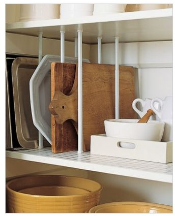 Buy some mini tension rods and put them in a cupboard or pantry to utilize the space better…plus things are easier to pull out and put away.