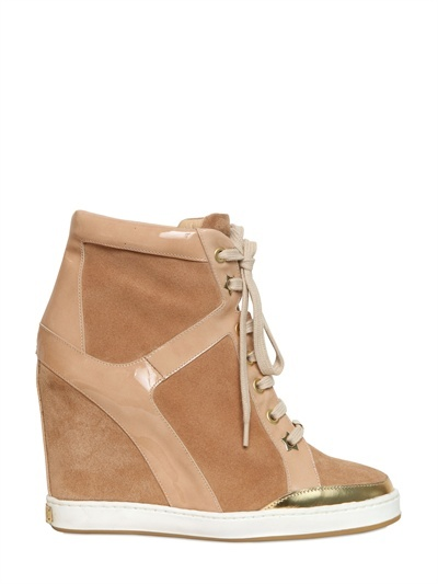 JIMMY CHOO - 100MM SUEDE HIGH TOP WEDGE SNEAKERS - LUISAVIAROMA - LUXURY SHOPPING WORLDWIDE SHIPPING - FLORENCE