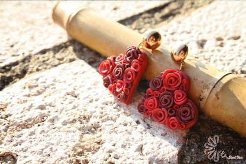 Cuori di rose rosse #fimo #love #rose #red #heart