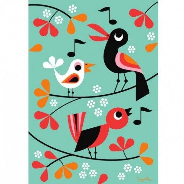 Posters voor de kinderkamer   Mooie vogeltjes in een retro-achtig sfeertje Door Ietje