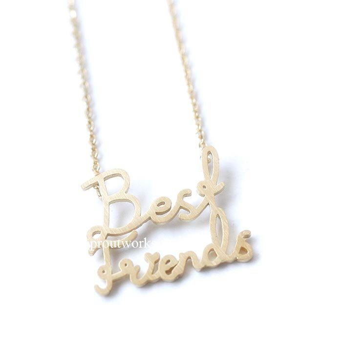 best friend necklace, best friends necklace, friendship necklace, best friends, woman necklace, bridesmaid gift, engraved, heart necklace by sproutworks on Etsy