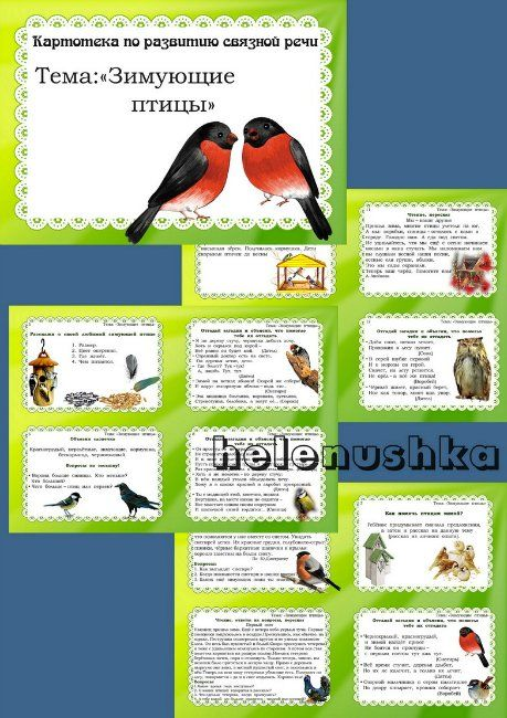 """Картотека по развитию связной речи:""""Зимующие птицы"""""""