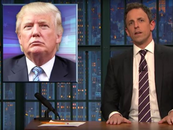 "Donald Trump was the subject of Seth Meyers' ""Closer Look"" segment on the ""Late Show."" ""Late Night"" host Seth Meyers has had enough of Donald Trump's inability to admit when he's wrong, especially as his rhetoric has become increasingly racist. In recent days, the presidential candidate has been spreading incorrect information. But instead of apologizing, he has been doubling down. And Meyers believes that he's gone too far and is now even ""quadrupling down.""…"