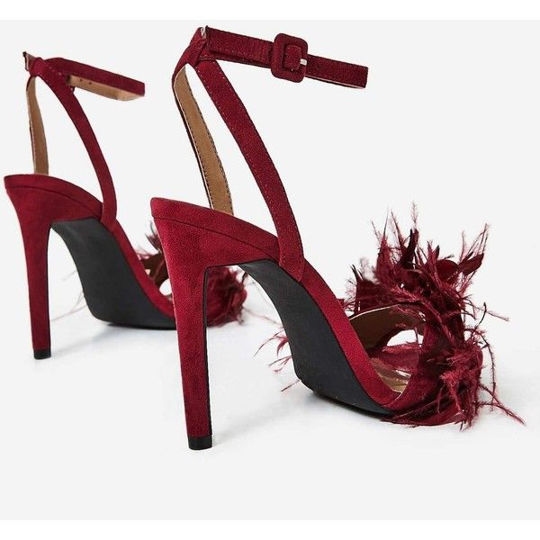 Dalla Oversized Feather Barely There Heel In Maroon Faux Suede ($50) ❤ liked on Polyvore featuring shoes, pumps, feather shoes, faux suede pumps, maroon pumps, feather pumps and oversized shoes