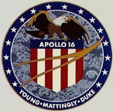 "Apollo 16 patch - ""Explore the Highlands""  Astronauts John W. Young, Charles M. Duke, Jr., and Thomas K. Mattingly II launched on April 16, 1972"