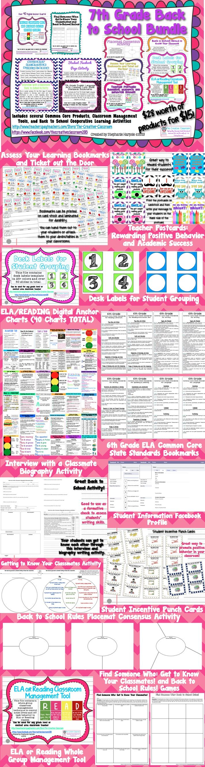 7th Grade ELA Back to School Bundle: 12 Products for only $15.00