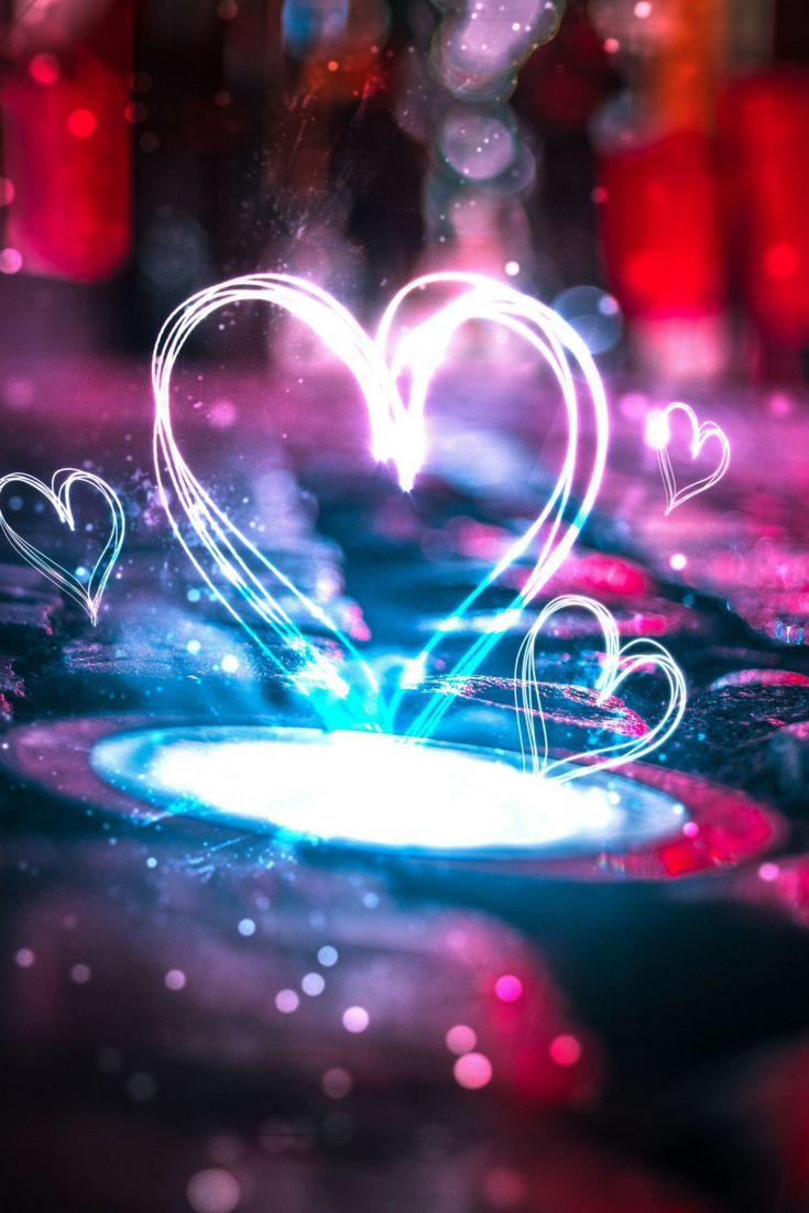 Fondo de pantalla neon, fondo de pantalla con corazón, love background. Neon background.