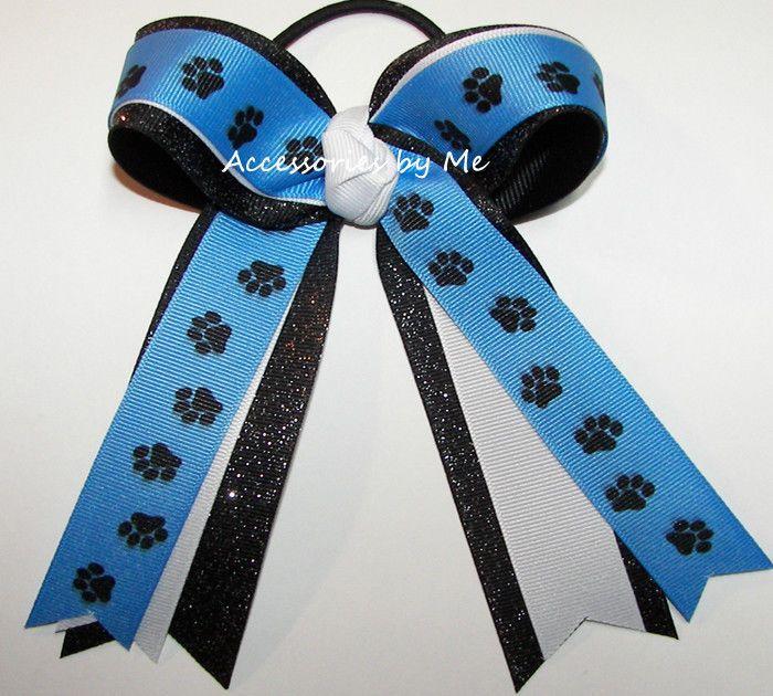 Carolina Blue Paw Print Bow Ponytail Ribbon Soccer Softball Volleyball Bulk Team #AccessoriesbyMe