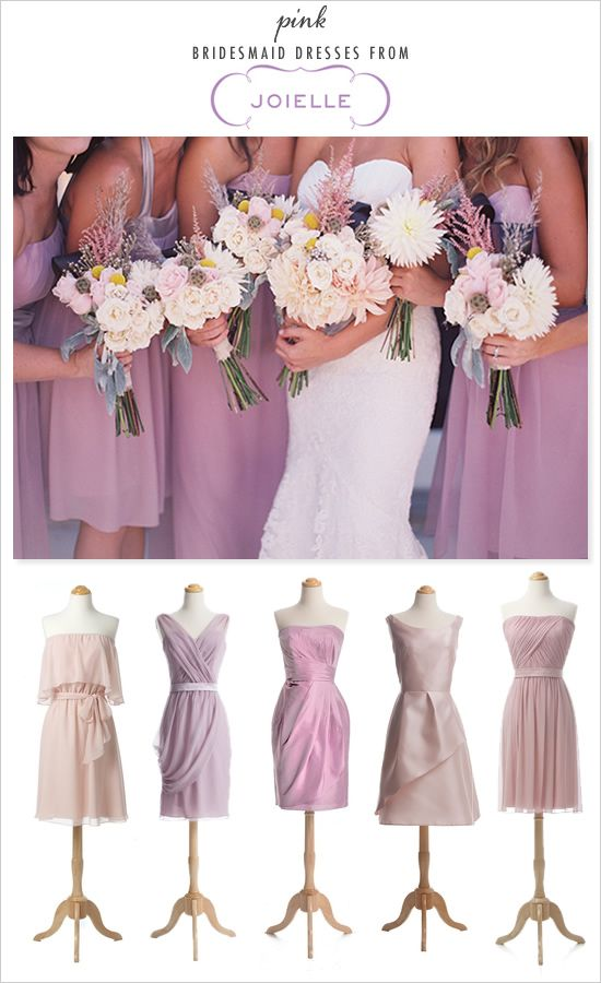 I love the idea of different styles (not everyone looks good in same dress) and complementary shades. Bridesmaids dresses must be short!