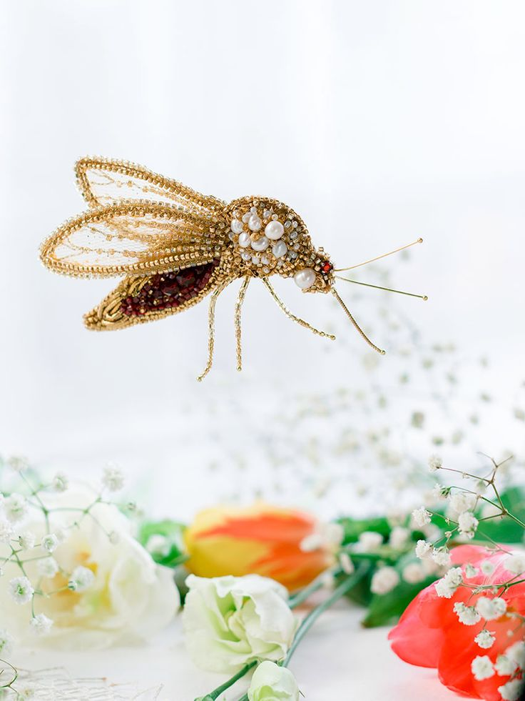 Hand embroidered Brooch Mosquito by Eve Anders. Handmade Jewelry design.