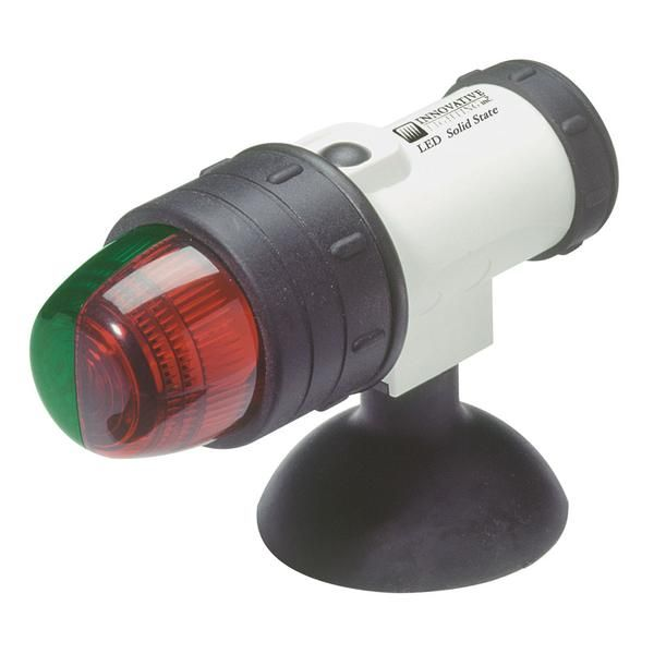 Battery Navigation Light Requires 4 AA batteries (not included) Molded one piece body construction Shock resistant neoprene accents Incandescent or LED availabl