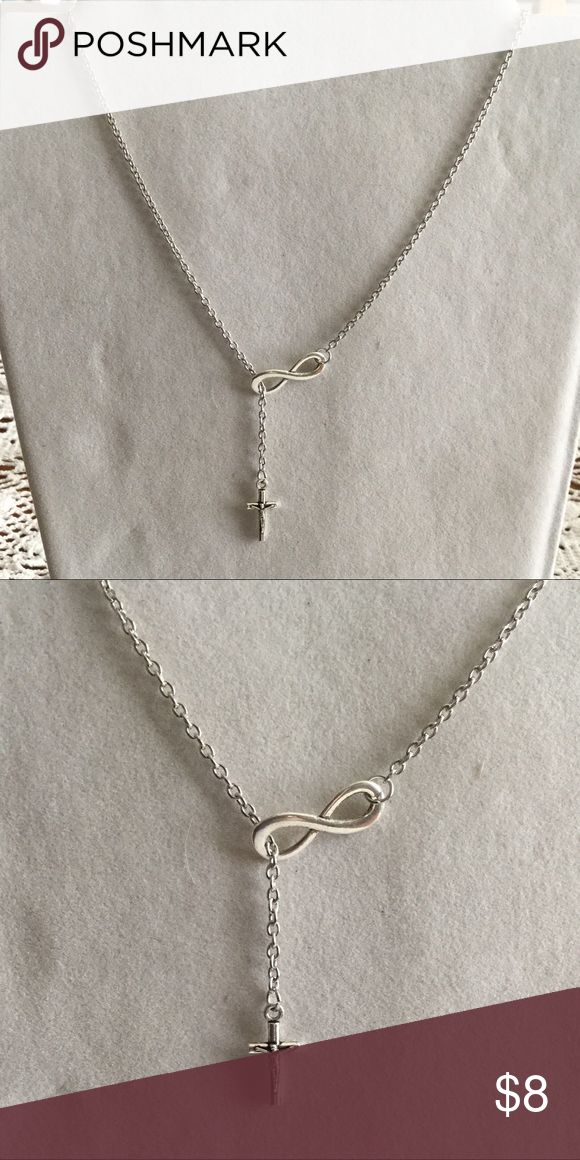 Infinity cross necklace Size adjustable not Sterling silver Jewelry Necklaces