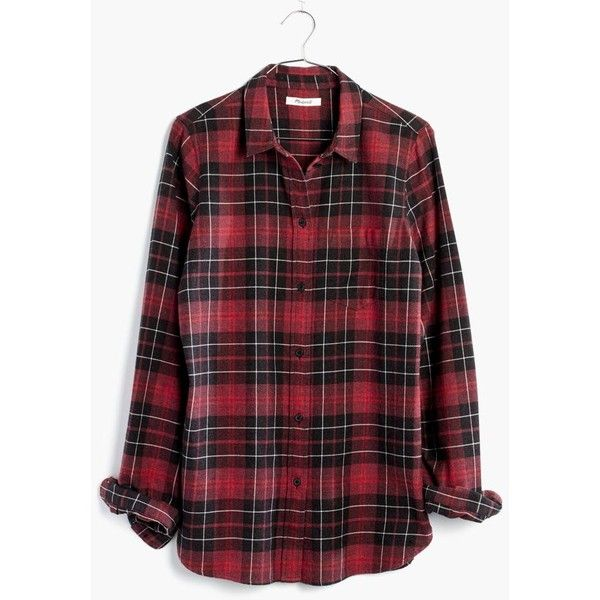 MADEWELL Flannel Slim Ex-Boyfriend Shirt in Winslow Plaid (£61) ❤ liked on Polyvore featuring tops, kilt red, plaid flannel shirts, long plaid shirt, red plaid shirt, button up shirts and plaid button down shirt