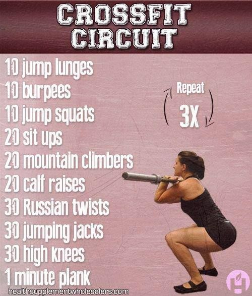 CrossFit Circuit - jump lunges, burpees, jump squats, sit-ups, mountain climbers, calf raises, Russian twists, jumping jacks, high knees, plank