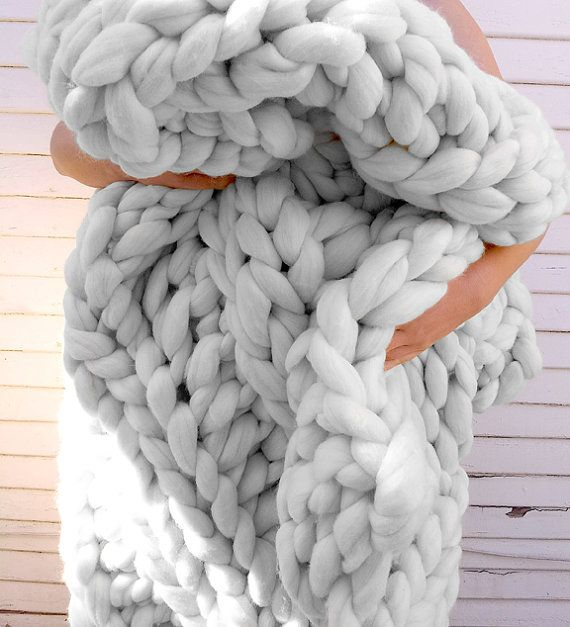 "KING SIZE Super Plush Extra Chunky Knit Wool Throw Blanket 84"" by 120"" Now in Grey"
