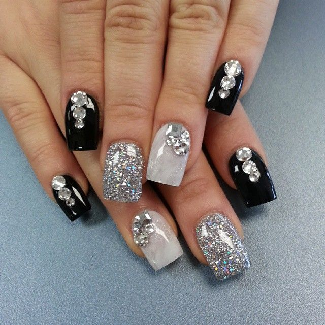 The 25 best bling acrylic nails ideas on pinterest nail designs cute black white and silver glitter nail art with rhinestones prinsesfo Images