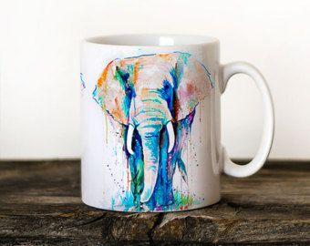 Tasse Mug Aquarelle Céramique Mug Elephant Unique par SlaviART