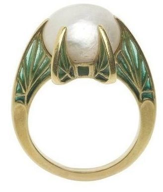 An Art Nouveau gold, plique-à-jour enamel and pearl 'Leaf' ring, by René Lalique, circa 1900. #ArtNouveau #Lalique #ring