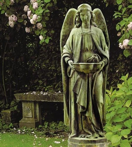Holy water font angel outdoor garden religious figurine - Exterior church crosses for sale ...