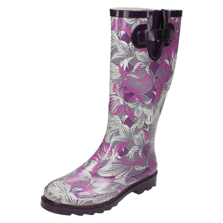 Ladies Spot On Lilac/Purple Long Wellies/Wellingtons Uk Sizes 3-8 X1163