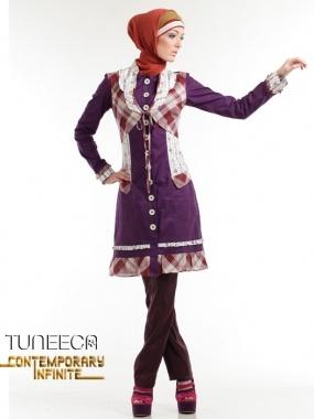 Unique chic, blouse kombinasi motif aksen butterfly bolero style, double collar & frills Colour : plum combine kotak coklat & stripes flower