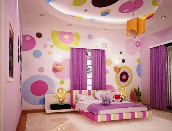 Decorar paredes de dormitorios juveniles: círculos de colores