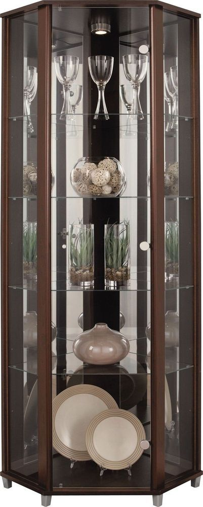 Glass Display Cabinet Corner Unit Stand Cupboard Door Back Panels Shelves Wood                                                                                                                                                                                 More
