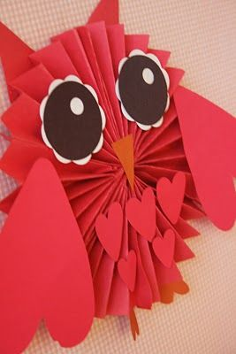 Owl Valentine - must make these to hang from the ceiling in my room. kiddos will so get a kick out of it