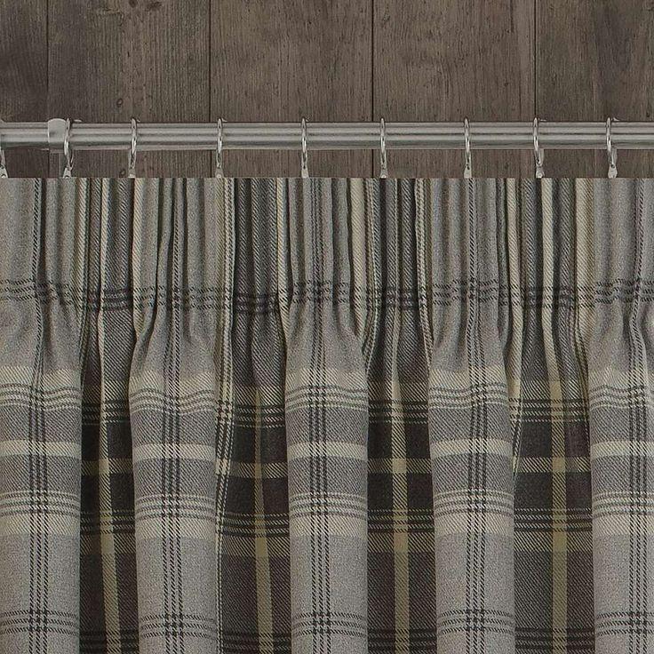 Dove Grey Highland Check Pencil Pleat Curtains | Dunelm