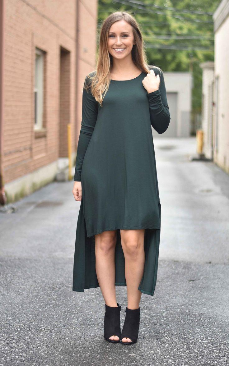 Hunter Green Hi-Lo Dress