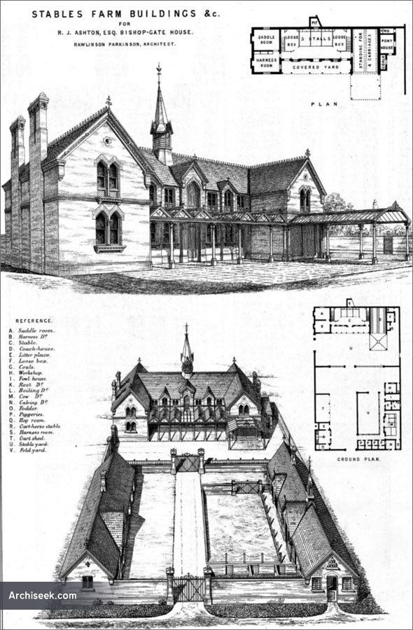 Architect: Rawlinson Parkinson Perspective & birds eye views including plans, for R.J. Ashton esq. at Bishop Gate House and published in The Building News,